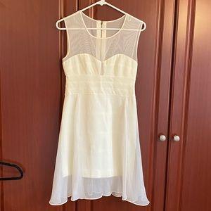 BCBG White Mini Dress with overlay